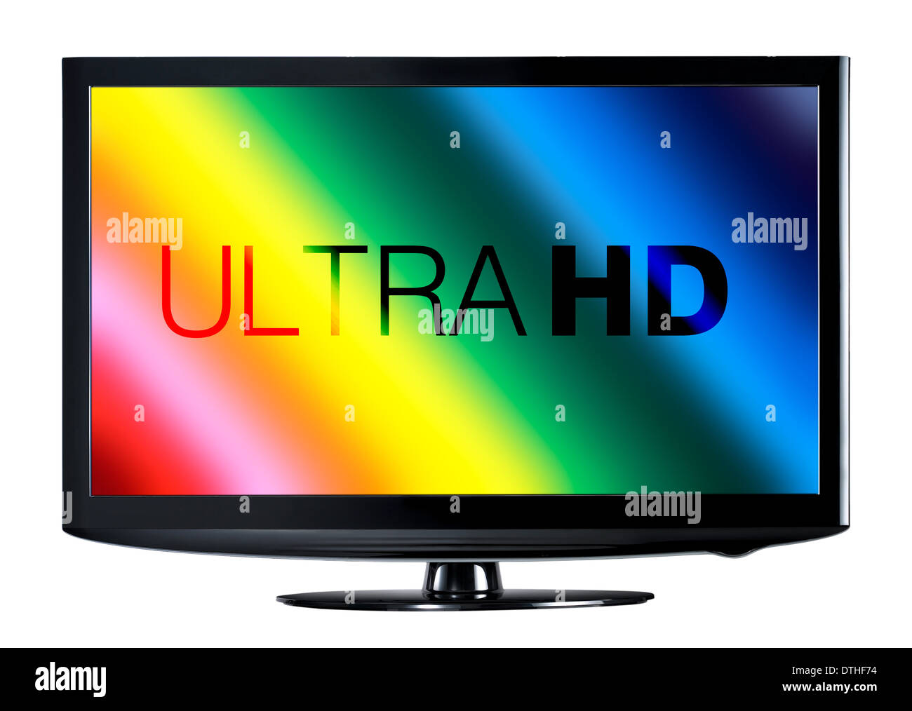 4K television display with comparison of resolutions - Stock Image