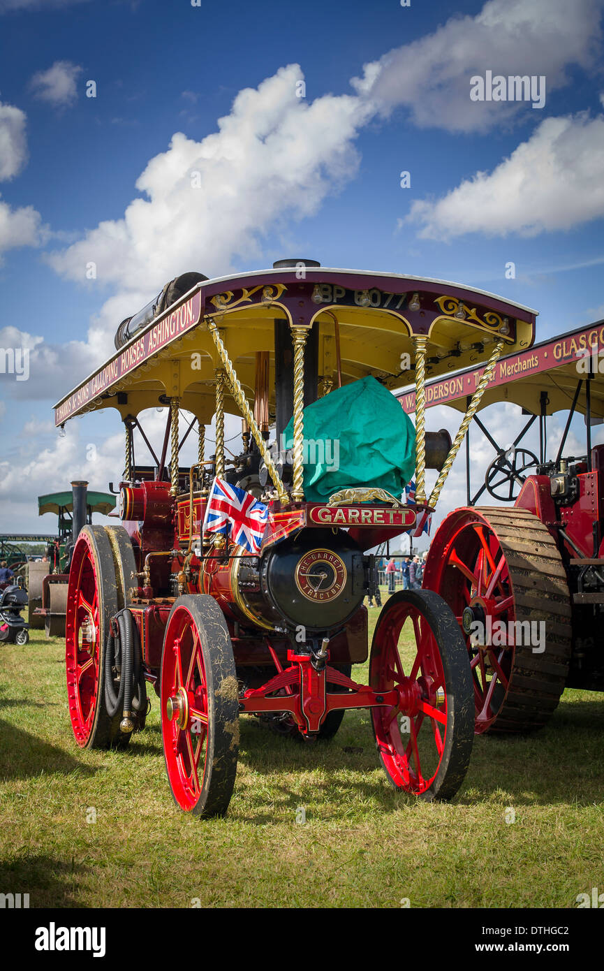 Garrett showman's steam traction engine on public display in Gloucestershire UK - Stock Image