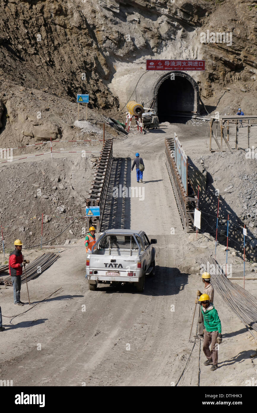 Diversion tunnel under construction as part of the controversial Upper Marsyangdi Hydropower Project in Nepal. - Stock Image