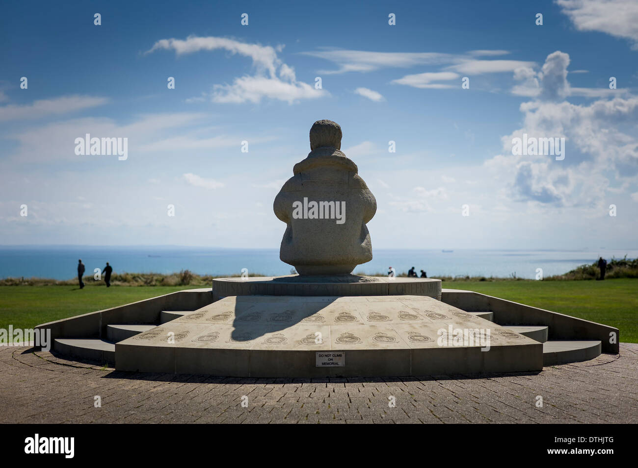Airman statue in Battle of Britain Memorial site at Capel-le-Ferne near Dover Kent UK - Stock Image