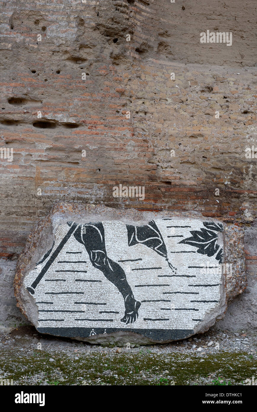 Fragments mosaic floor tiling lining wall Western palaestra Baths Caracalla Rome Italy Baths of - Stock Image