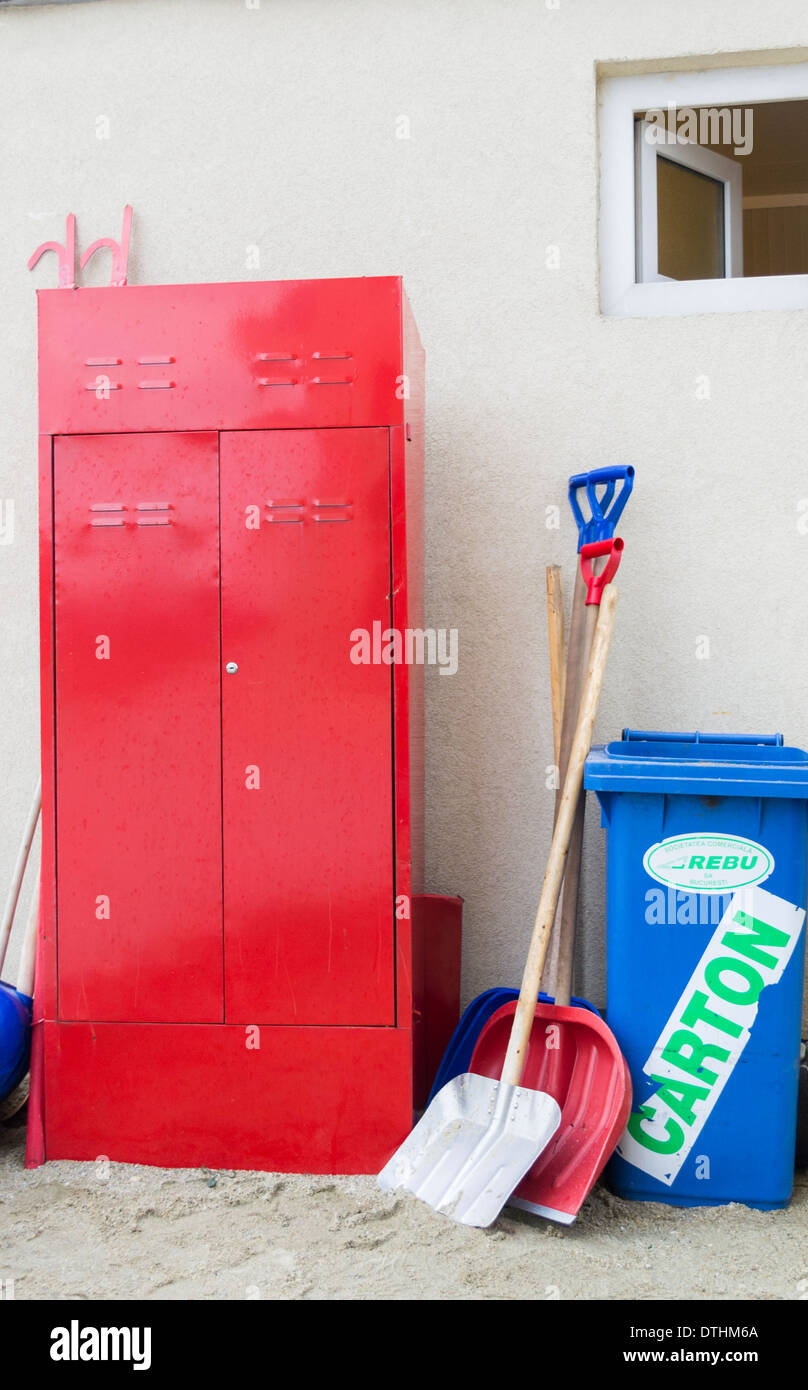 Firefighting tools and equipment - Stock Image