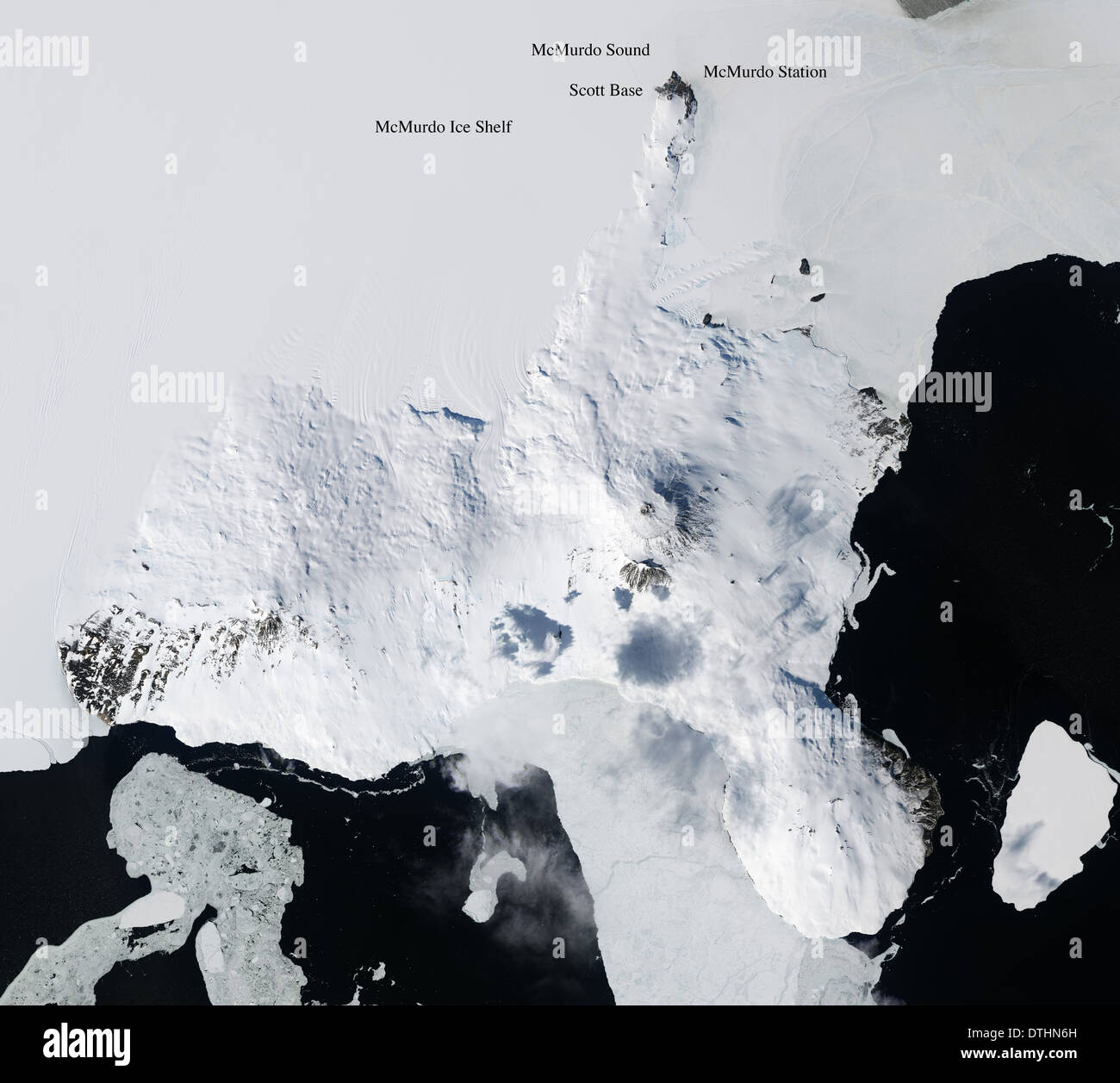 McMurdo Station McMurdo Sound and Ice Shelf Antarctica - Stock Image