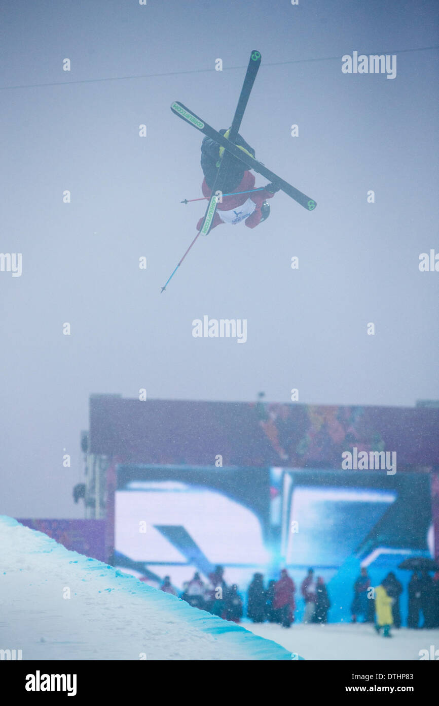 Sochi, Russia. 18th Feb, 2014. Kevin Rolland of FRA earned bronze at 2014 Winter Olympics Mens Ski Halfpipe, Rosa Khutor Extreme Park, Sochi, Russia, Credit:  Action Plus Sports/Alamy Live News - Stock Image