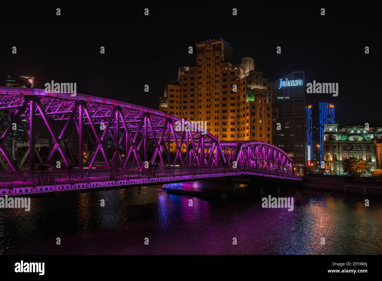 Waibaidu steel truss bridge at night, magenta lights, Shanghai, China - Stock Image