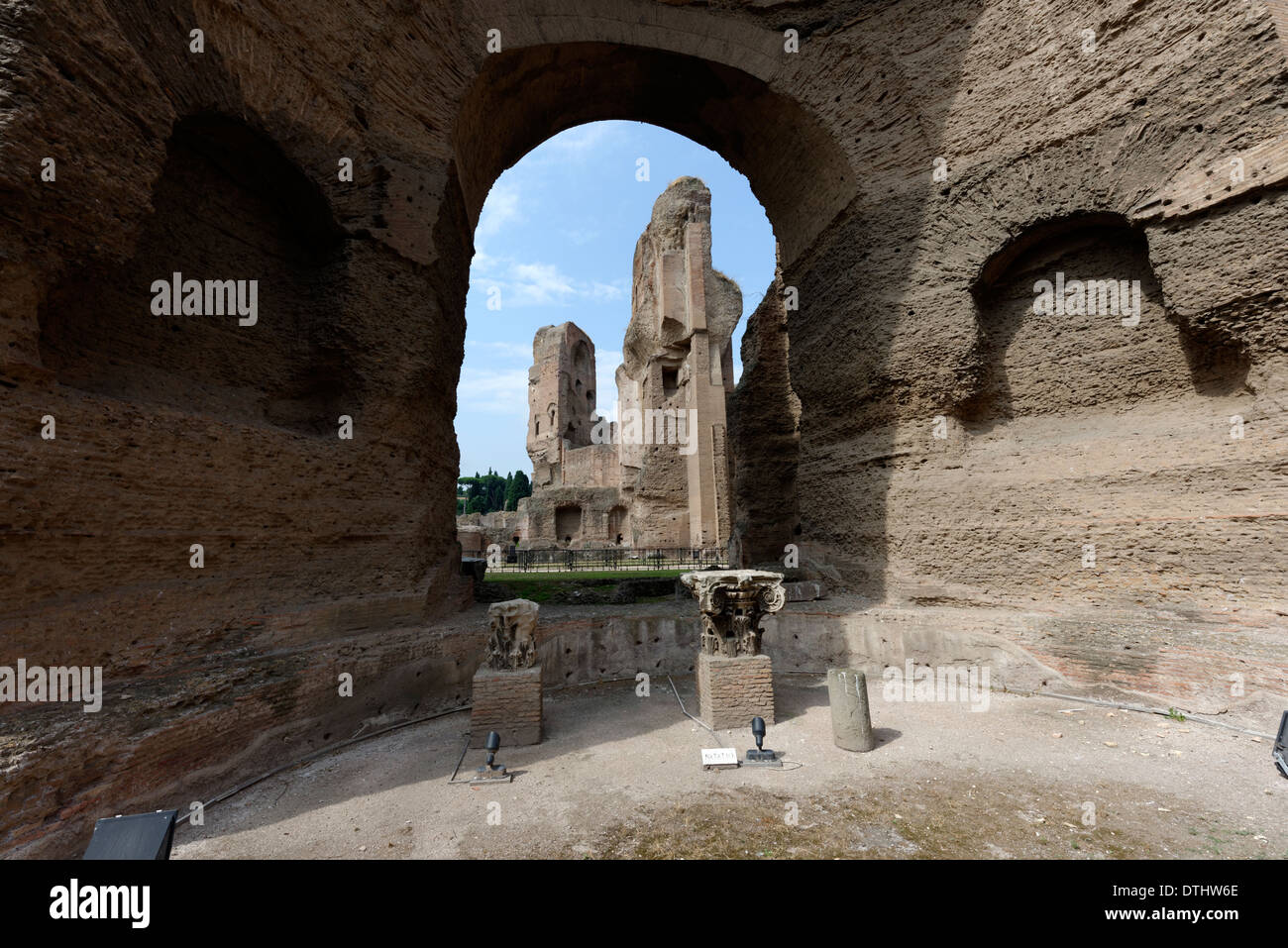 View ruin buildings from within Natatorium or swimming pool at north end Baths Caracalla Rome Italy Baths of - Stock Image