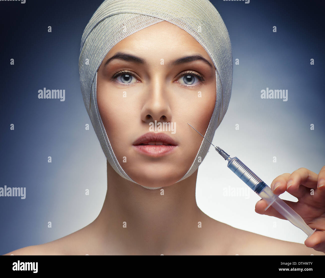 pretty woman getting botox injection Stock Photo