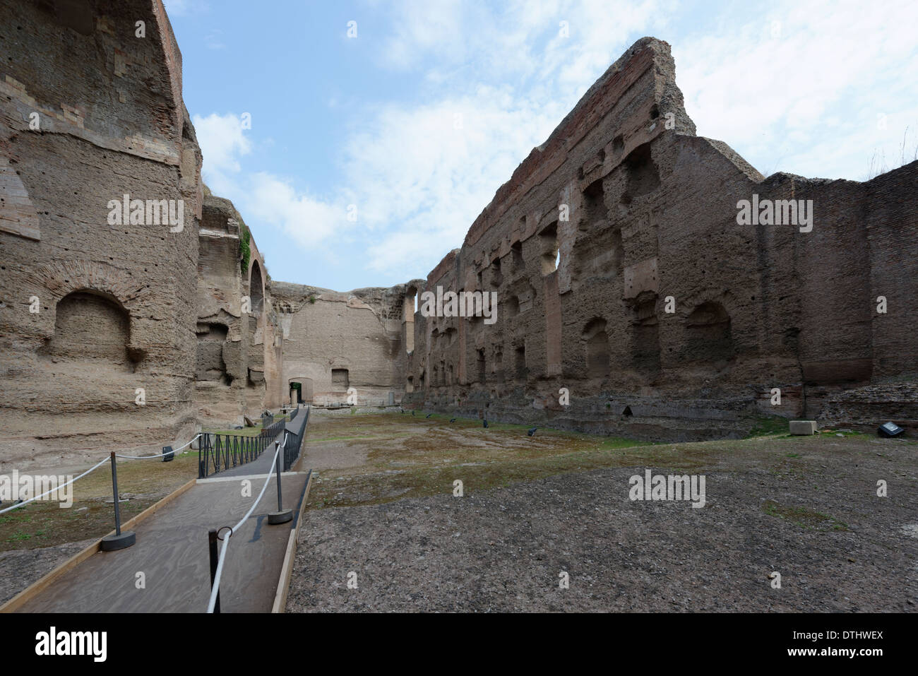 The open-air one metre deep Olympic sized Natatorium or swimming pool at north end Baths Caracalla Rome Italy Baths - Stock Image