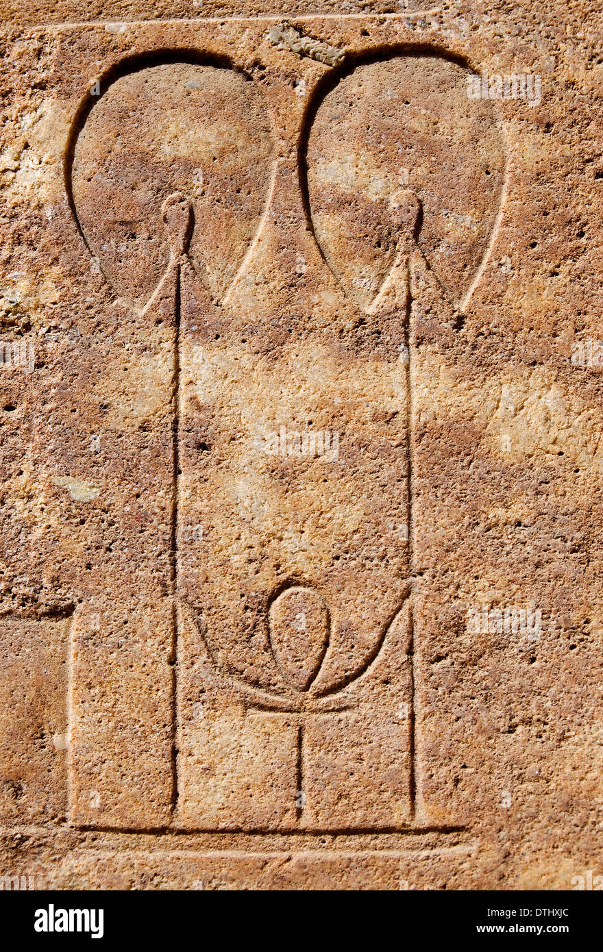 Ank hieroglyph with two flabella on quarzite block in wall of Red Chapel Hatshepsut - Stock Image