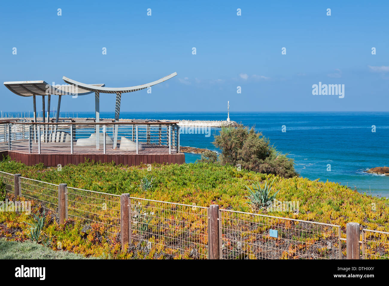 Promenade and viewpoint overlooking calm Mediterranean sea in Ashqelon, Israel. Stock Photo