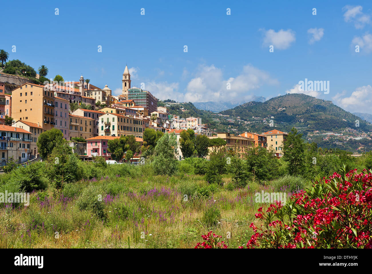 Riverbed overgrown with trees, shrubs and grass and old town of Ventimiglia under blue sky in Italy. - Stock Image