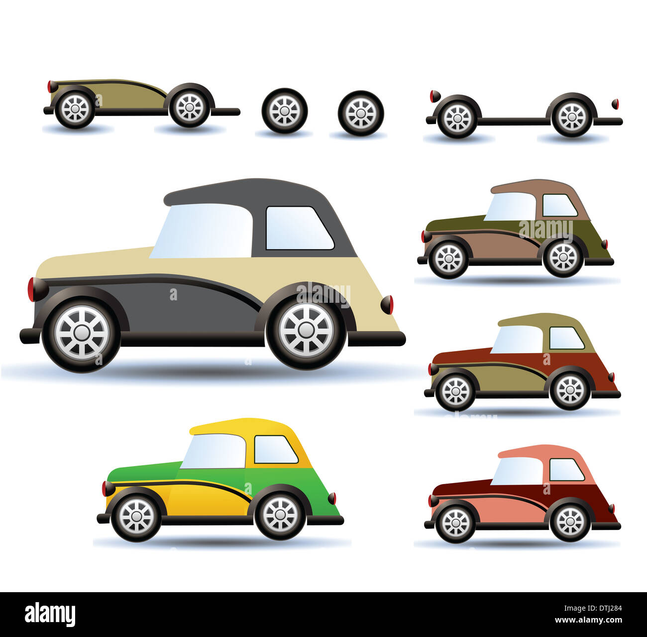 Various variants of a car on a white background Stock Photo
