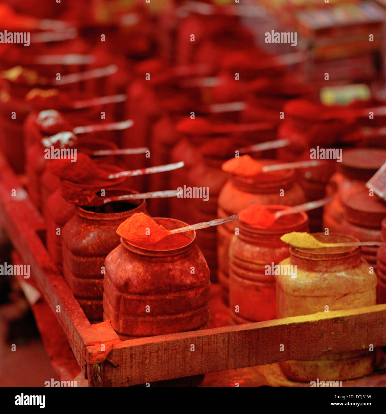 Hindu tikka powder at Kalighat Temple Kolkata Calcutta in West Bengal in India in South Asia. Red Yellow Religion Religious Color Colour Art Travel - Stock Image