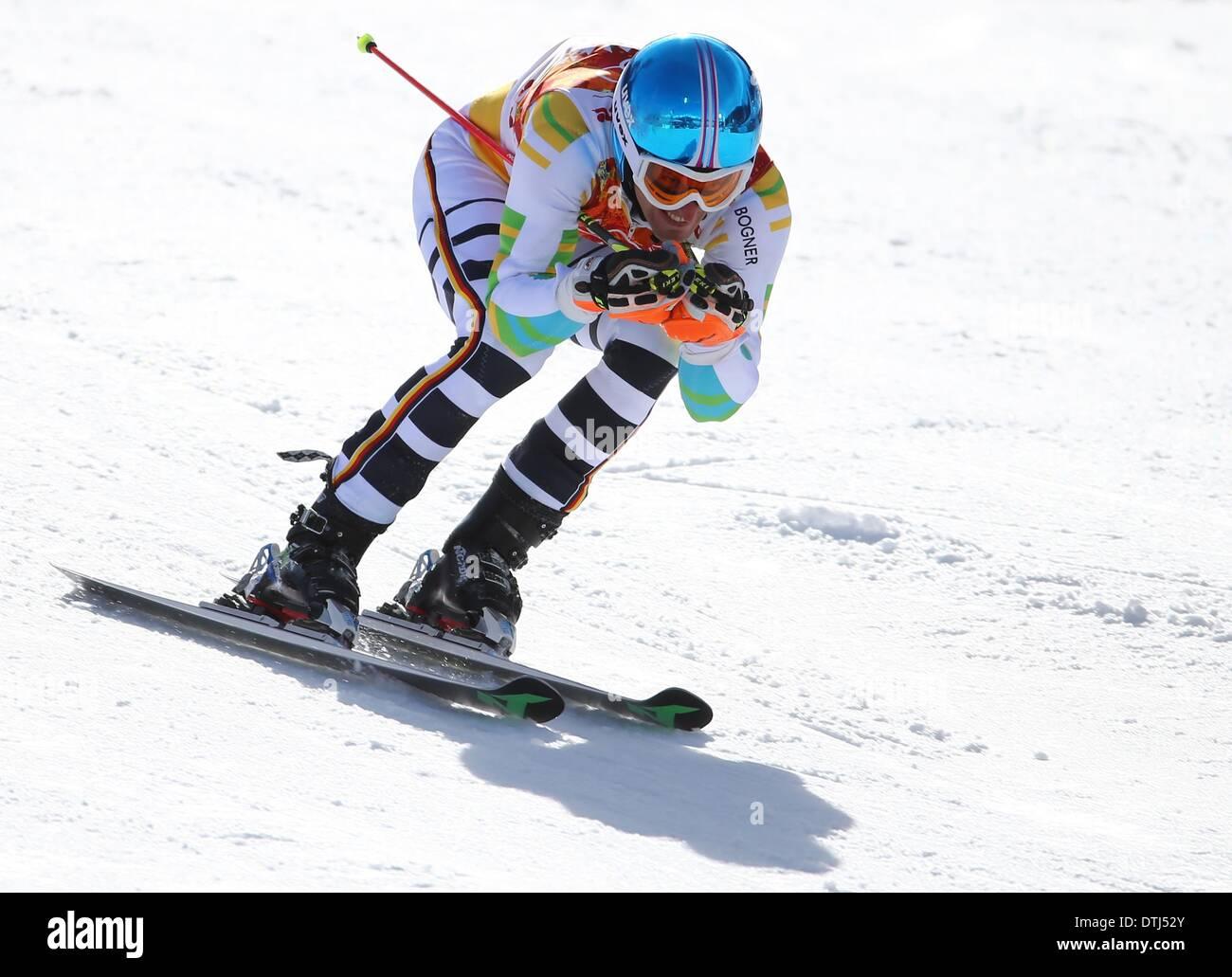 Krasnaya Polyana, Russia. 19th Feb, 2014. Fritz Dopfer of Germany in action during the Men's Giant Slalom Alpine Stock Photo
