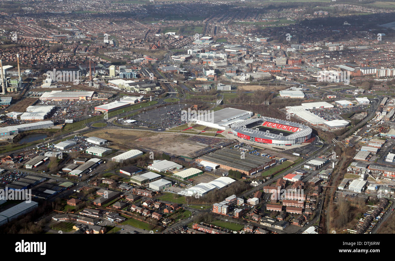aerial view of St Helens with the rugby league ground prominent - Stock Image