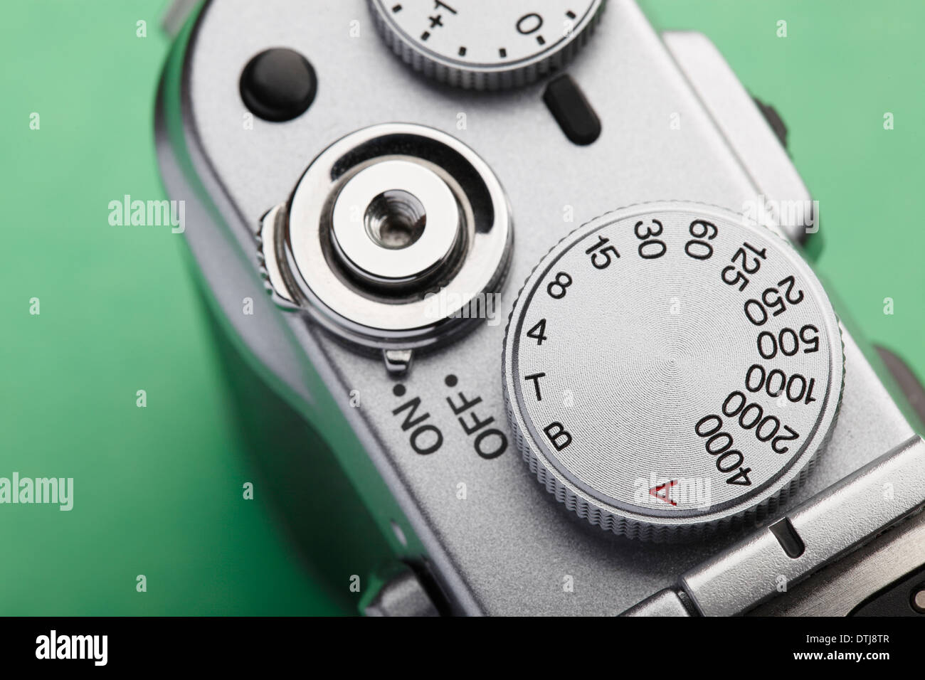 Shutter speed dial on a classical view finder camera - Stock Image