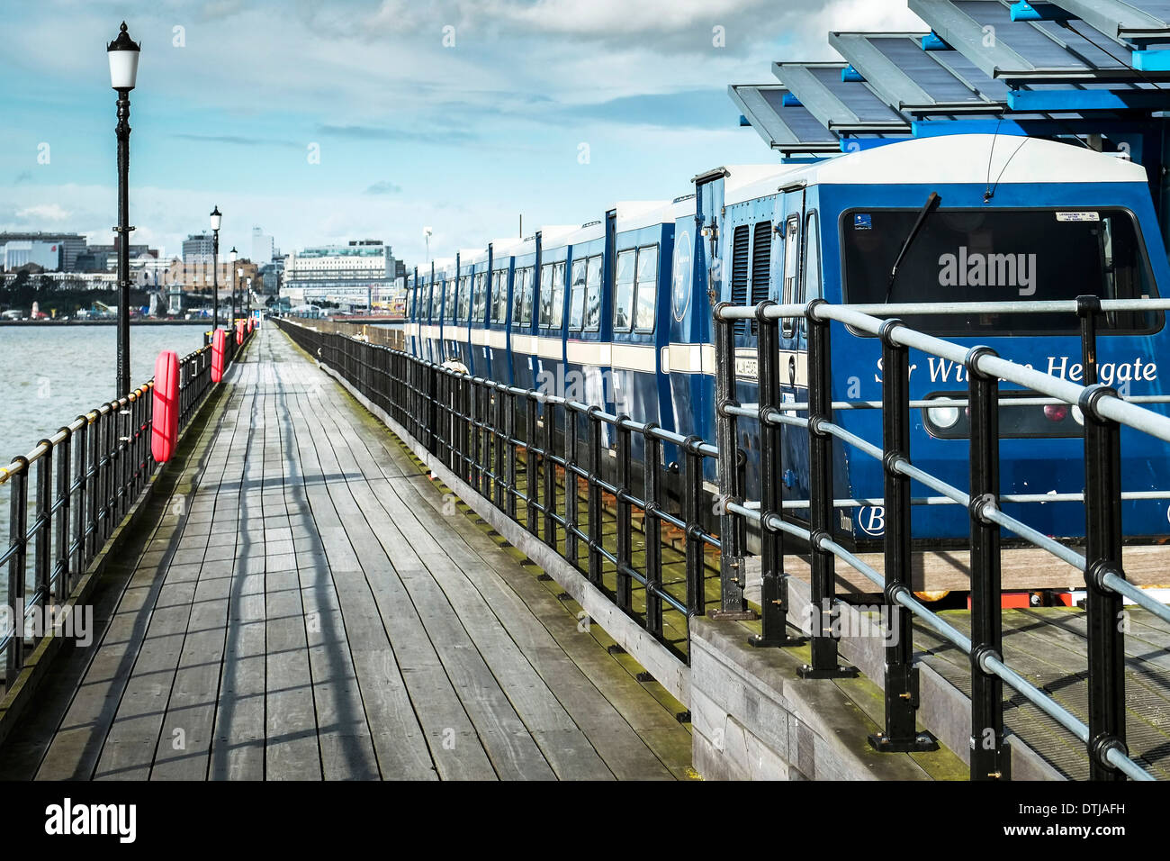 One of the electric trains at the pier head station on Southend Pier. - Stock Image