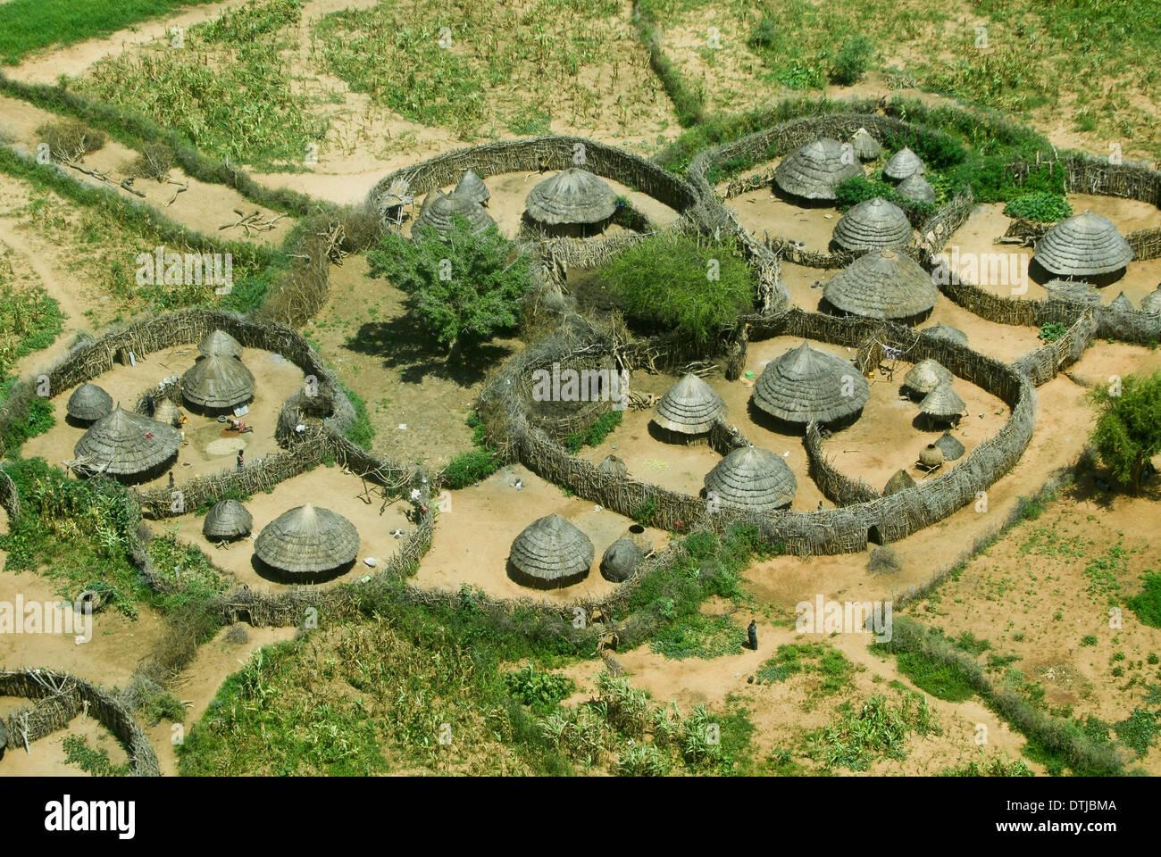 UGANDA, Karamoja, Kotido, karamojong pastoral tribe, aerial