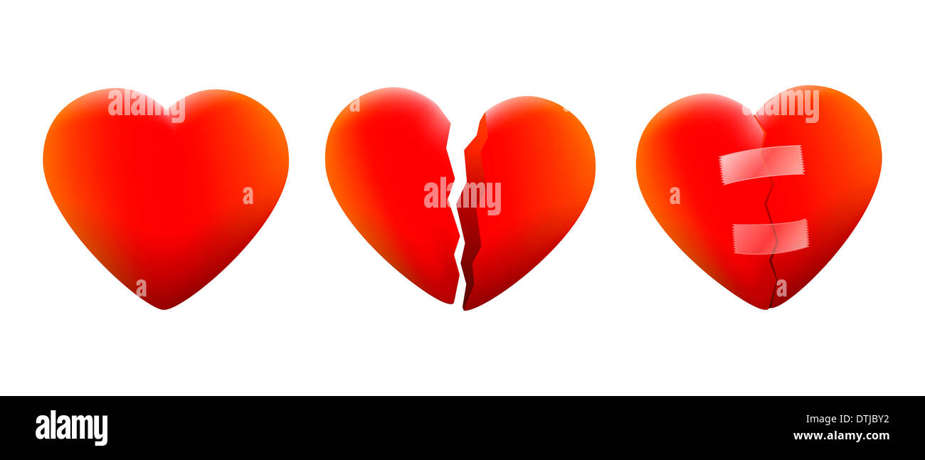 Three hearts, a cheerful heart, a contrite heart and one that is repaired again. - Stock Image