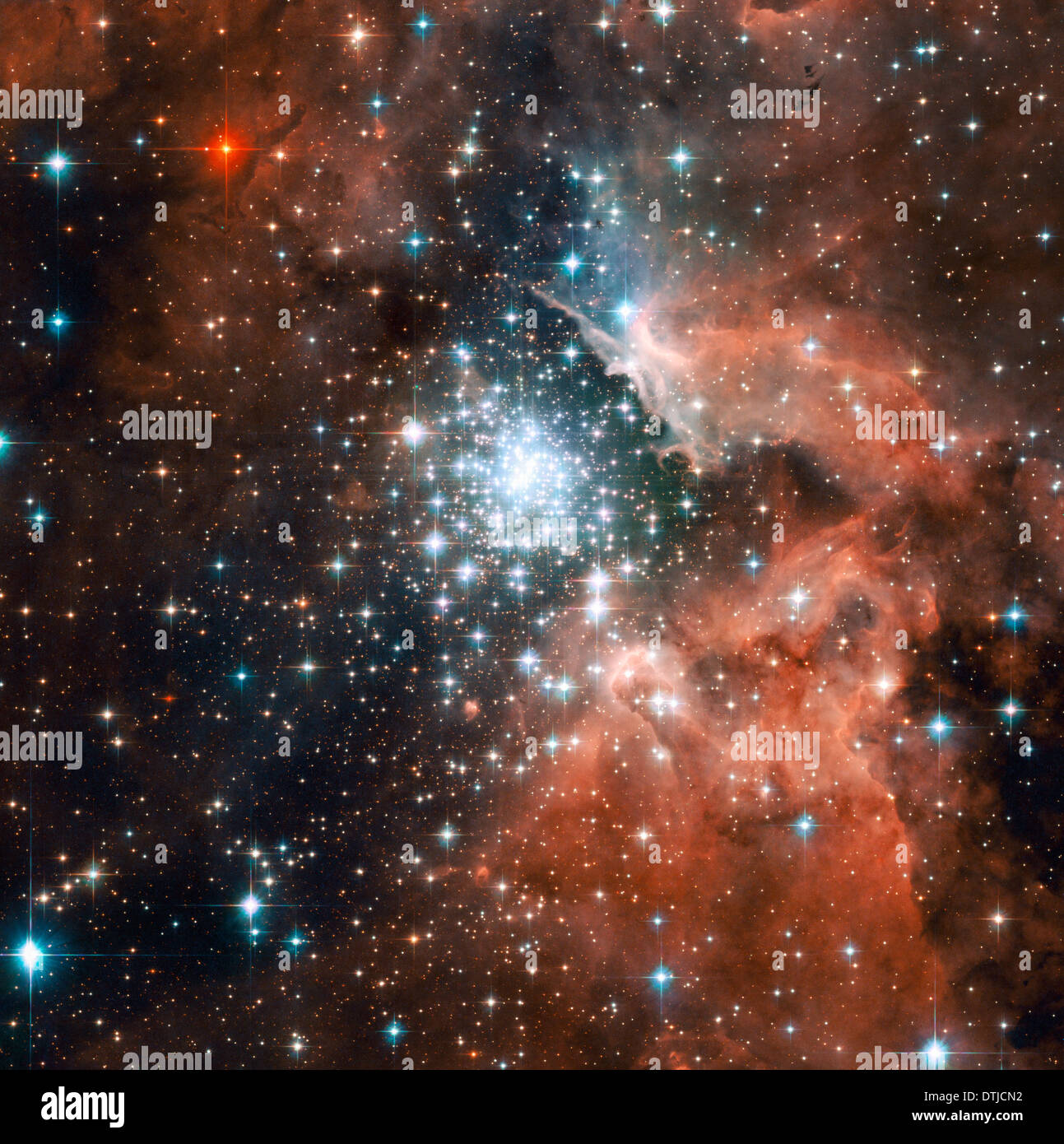 Hubble Telescope view of star-forming region NGC 3603 in the Milky Way. - Stock Image