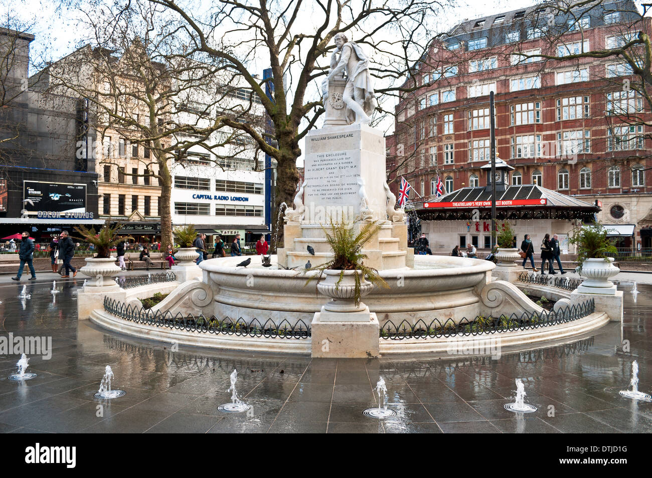 William Shakespeare statue, Leicester Square, London, Uk - Stock Image
