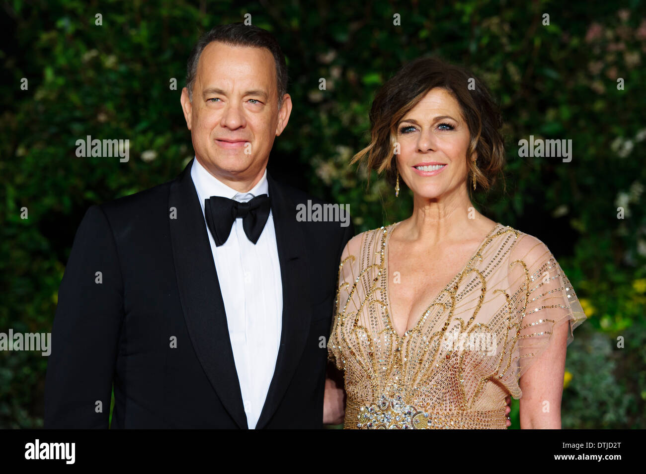 Tom Hanks and Rita Wilson arrive for the British Academy Film Awards 2014 After Party at the Grosvenor Hotel. - Stock Image