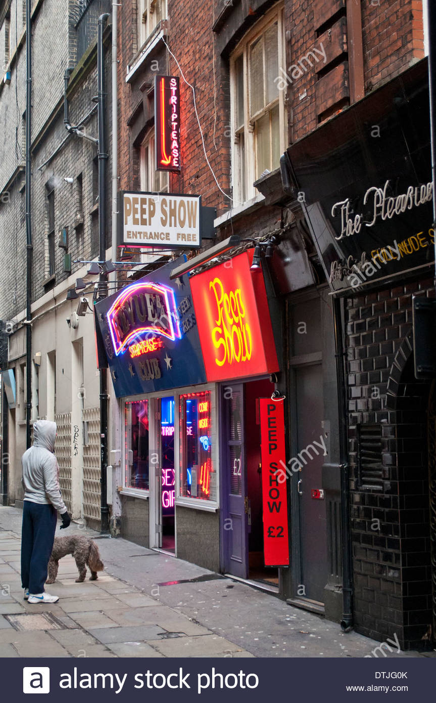 Seedy Red Light district in Soho, London, WC2, UK - Stock Image
