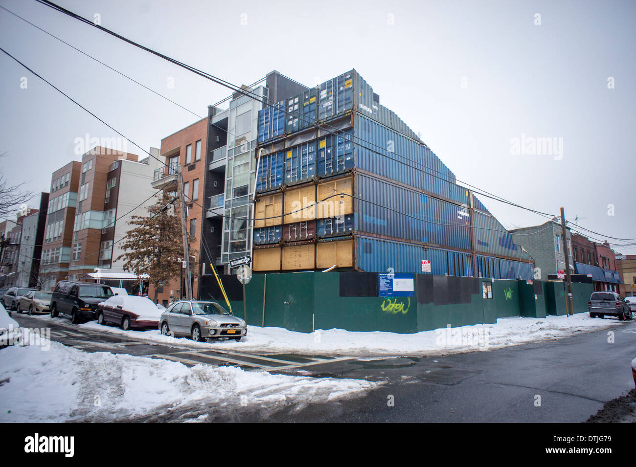 A single-family home constructed out of shipping containers is seen under construction in Williamsburg Brooklyn - Stock Image