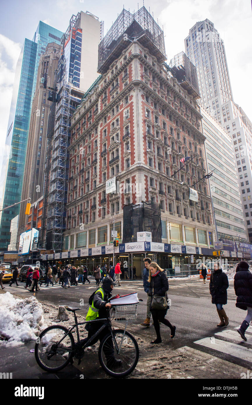 The former Knickerbocker Hotel, aka 1466 Broadway, in Times Square in New York Stock Photo
