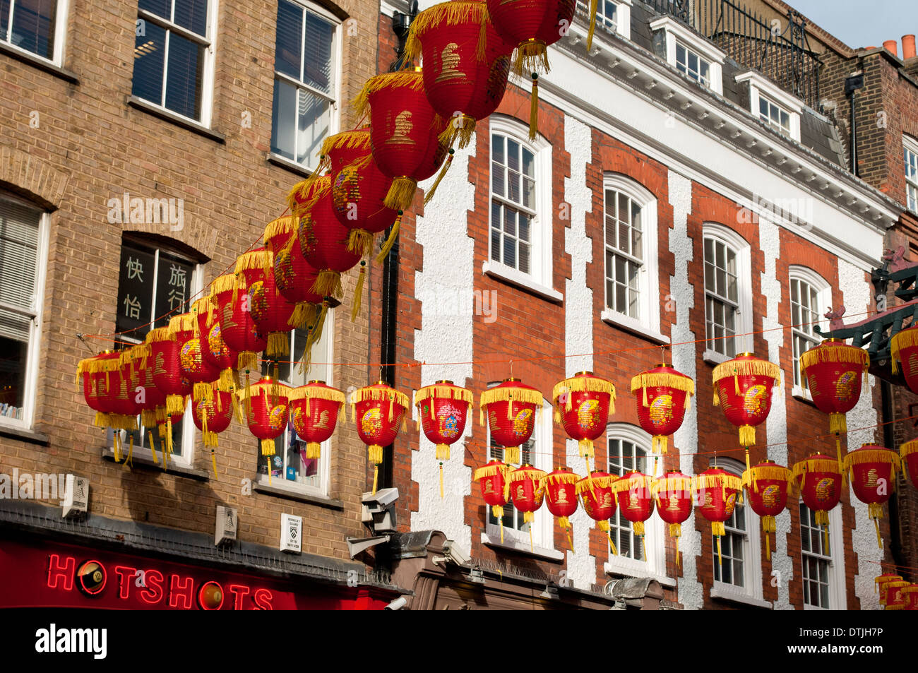 Chinese New Year decorations in Gerrard Street, Chinatown, Soho, London, WC2, UK - Stock Image