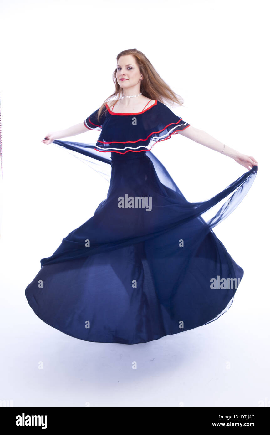 Young Woman Evening Gown Turning Around Stock Photos & Young Woman ...