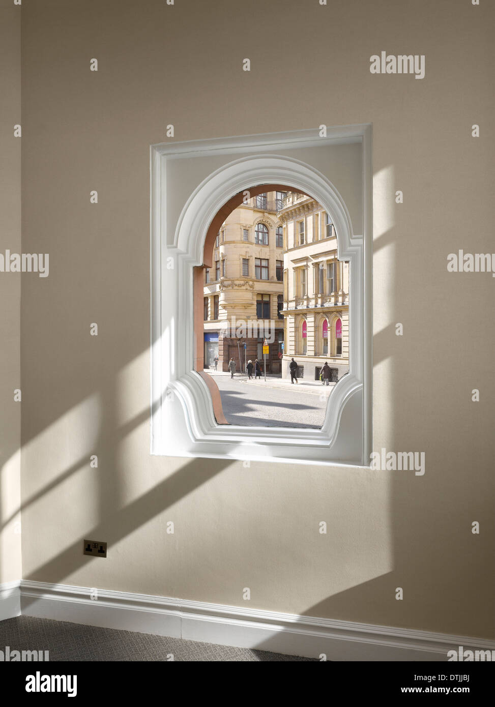 View through window to street from inside Elliot House, Manchester, Greater Manchester. - Stock Image