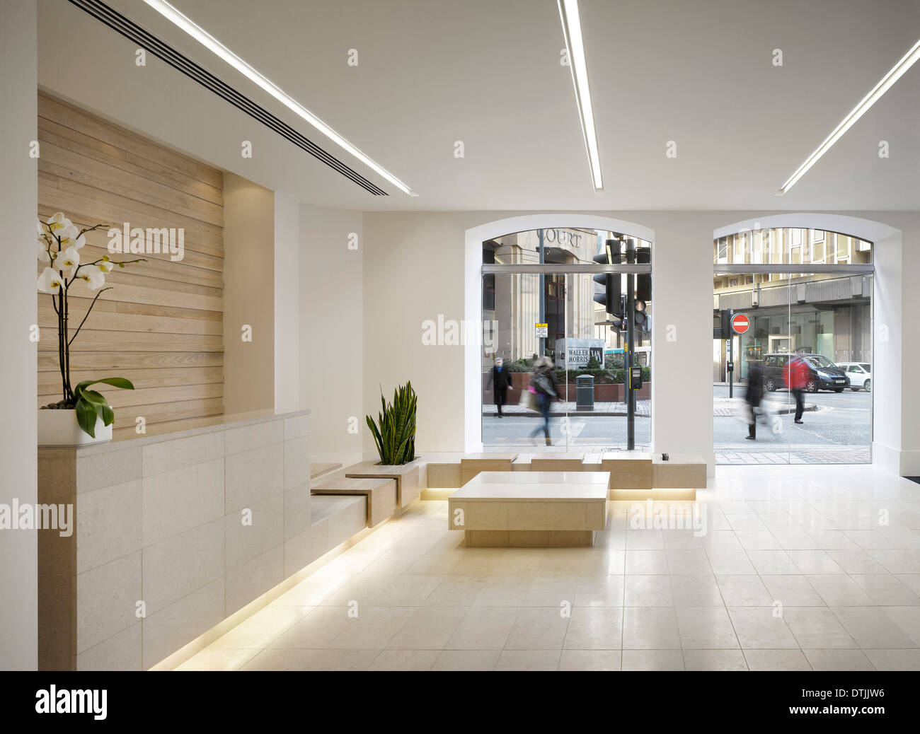 Reception area of commercial building, King Street, Leeds, Yorkshire. - Stock Image
