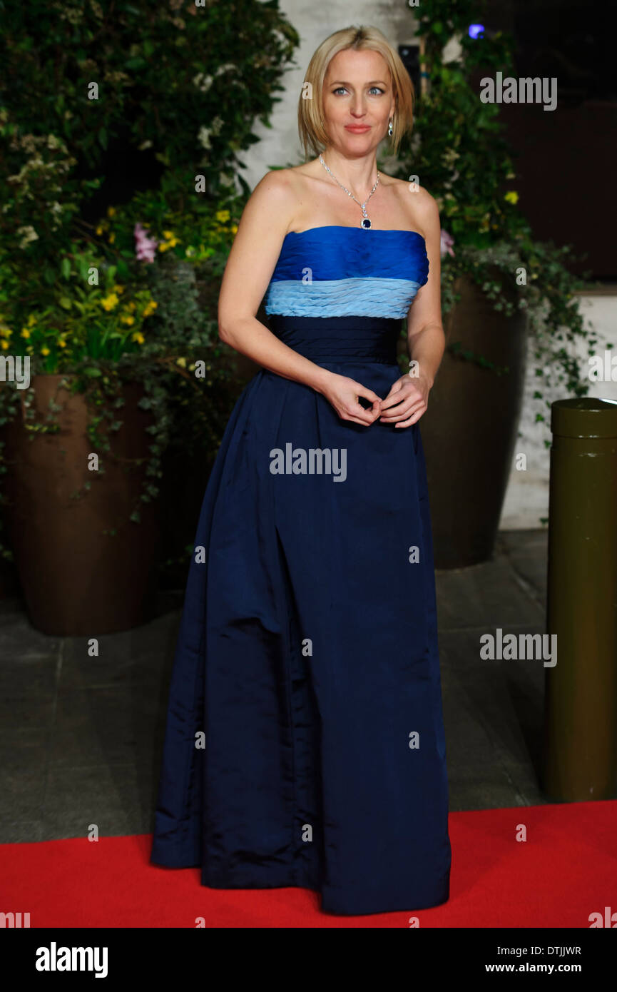 Gillian Anderson arrives for the British Academy Film Awards 2014 After Party at the Grosvenor Hotel. - Stock Image