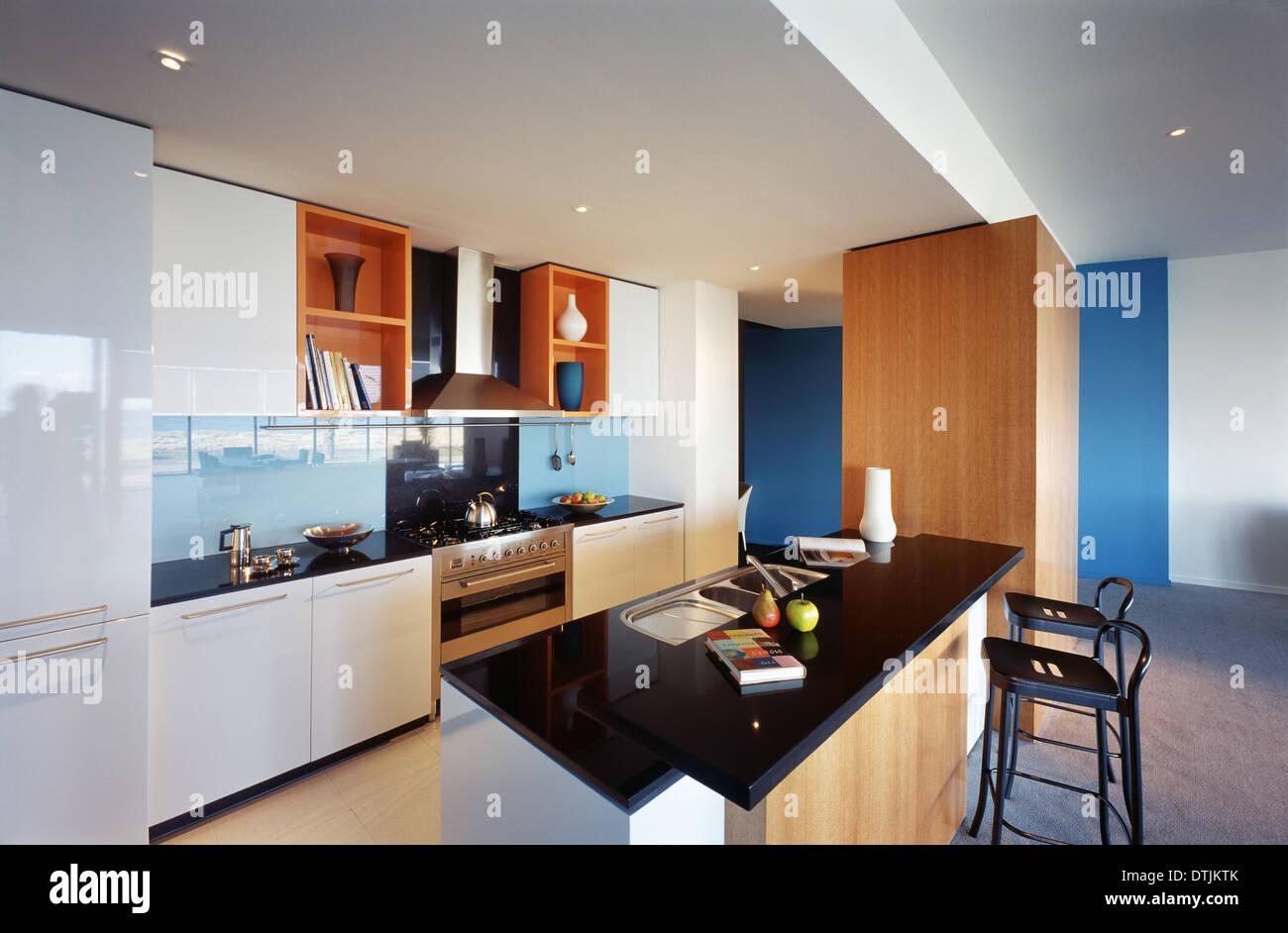 Open plan kitchen in Hero Apartments - Melbourne Australia Stock ...