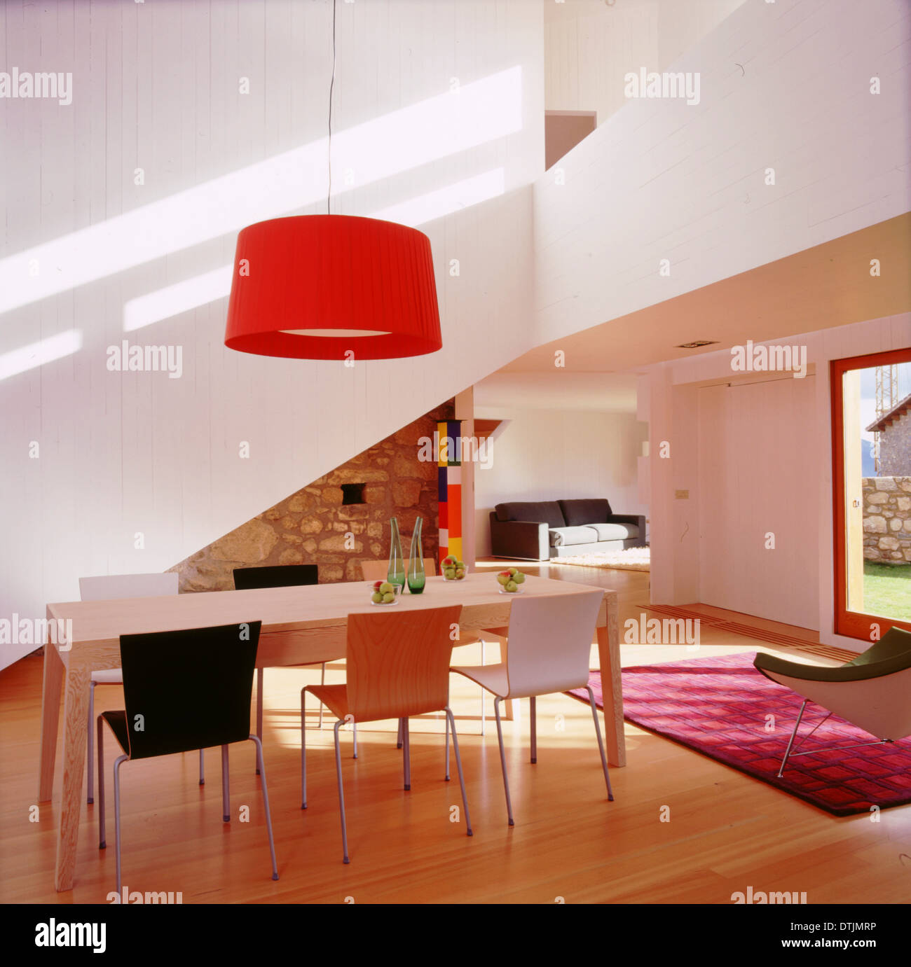 Delightful Dining Room With Red Pendant Light In Lles, Cerdanya, Lleida, Catalonia,  Spain