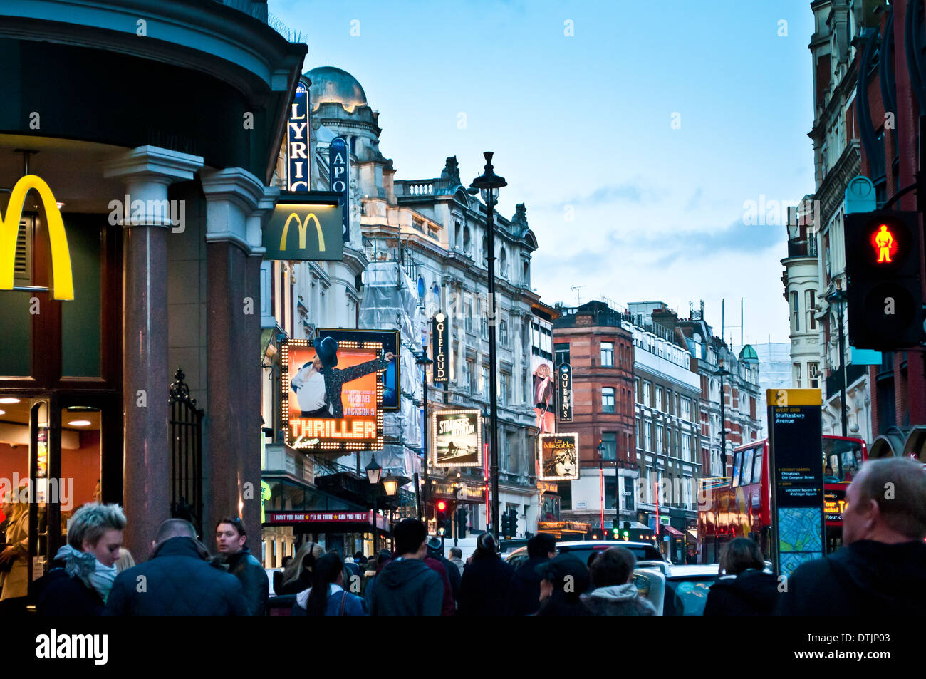 Shaftesbury Avenue with several theatres, London, WC2, UK - Stock Image