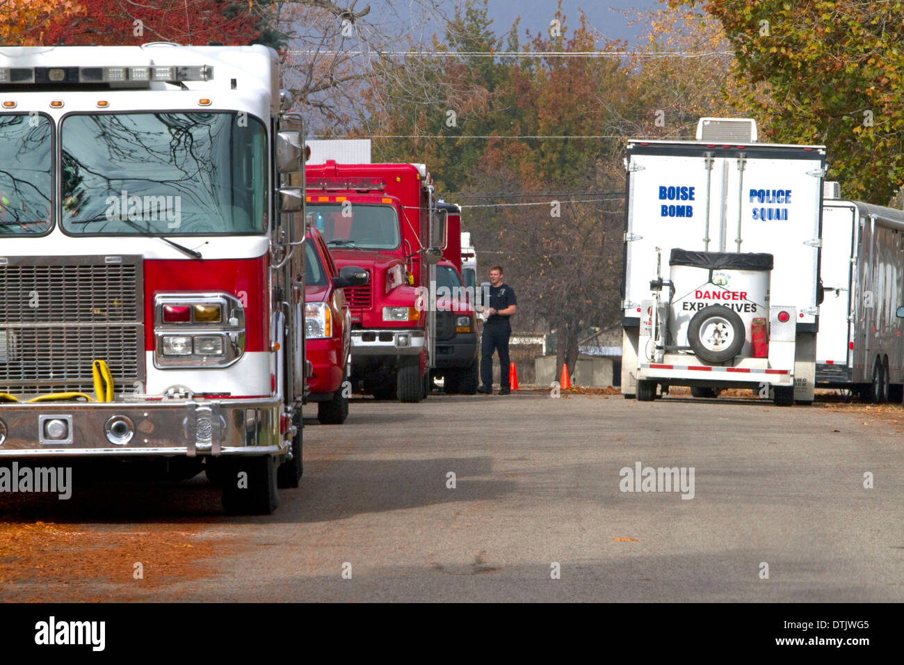 Fire engines and bomb units at the scene of an explosive materials incident in Boise, Idaho, USA. - Stock Image