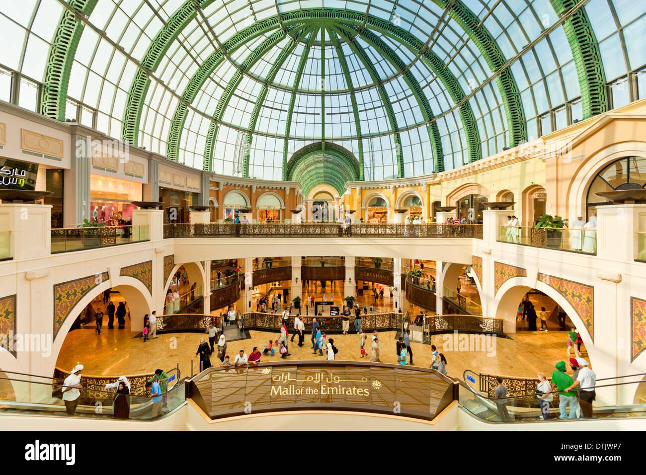 Interior of the Mall of the Emirates Dubai Shopping Mall, Dubai, United Arab Emirates, UAE middle east - Stock Image
