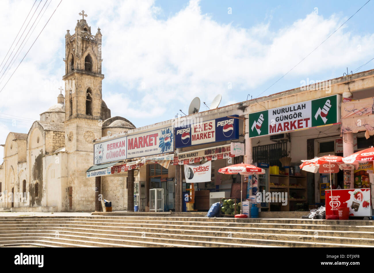 Terrace of Shops in Dipkarpaz Northern Cyprus - Stock Image