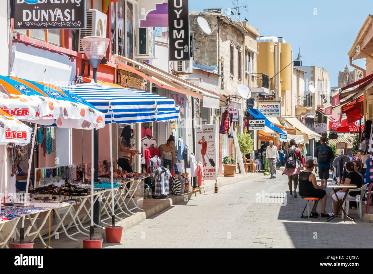 Shops and Bars in Famagusta Cyprus - Stock Image