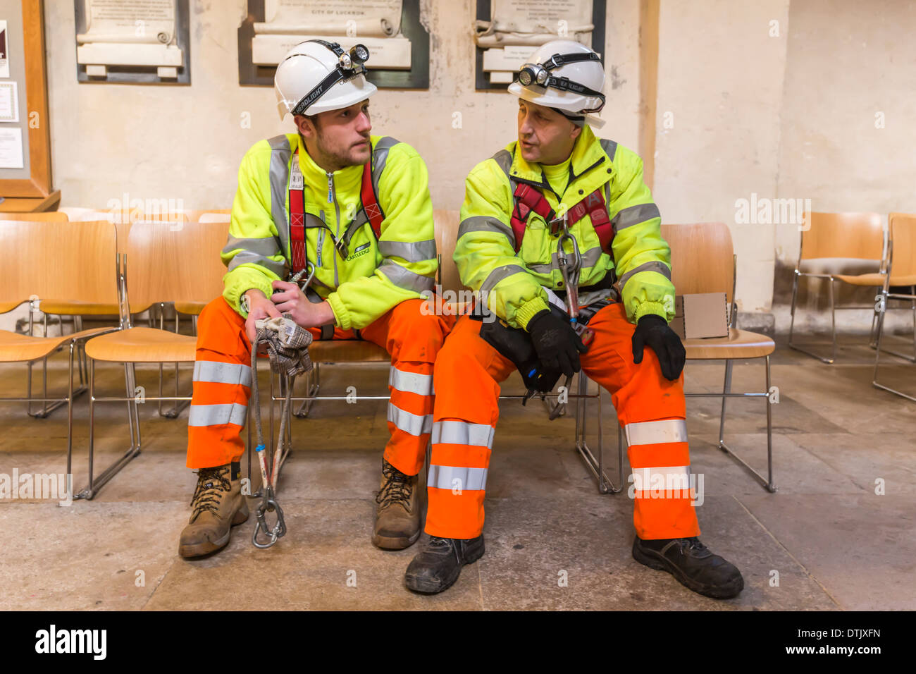 Workmen preparing to abseil Rochester Cathedral Kent - Stock Image