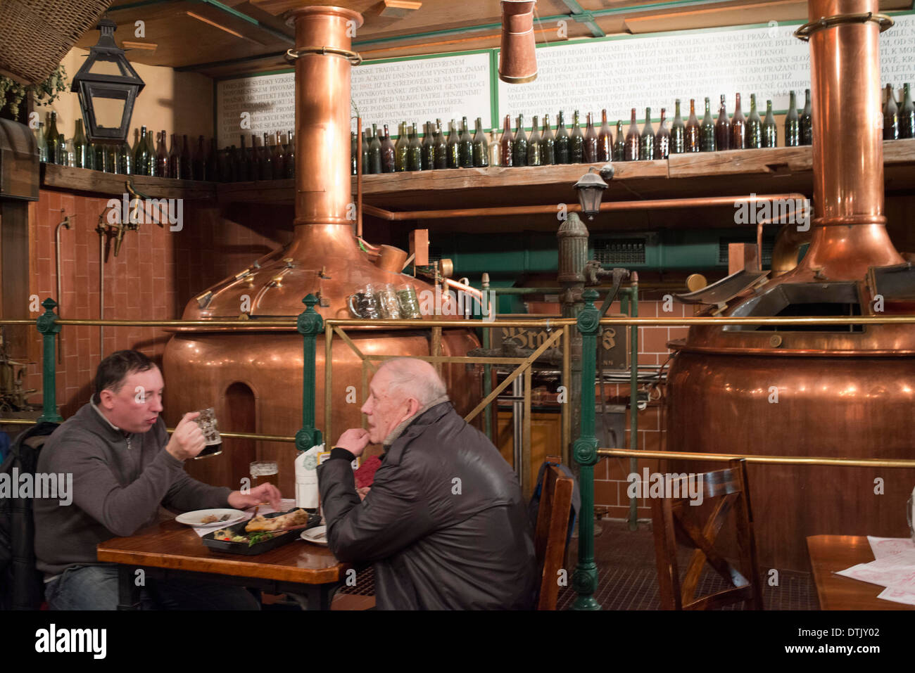 Resturant and brewery. Novoměstský Brewery brewery, which was in 1993 the first microbrewery opened in Prague in the twentieth - Stock Image