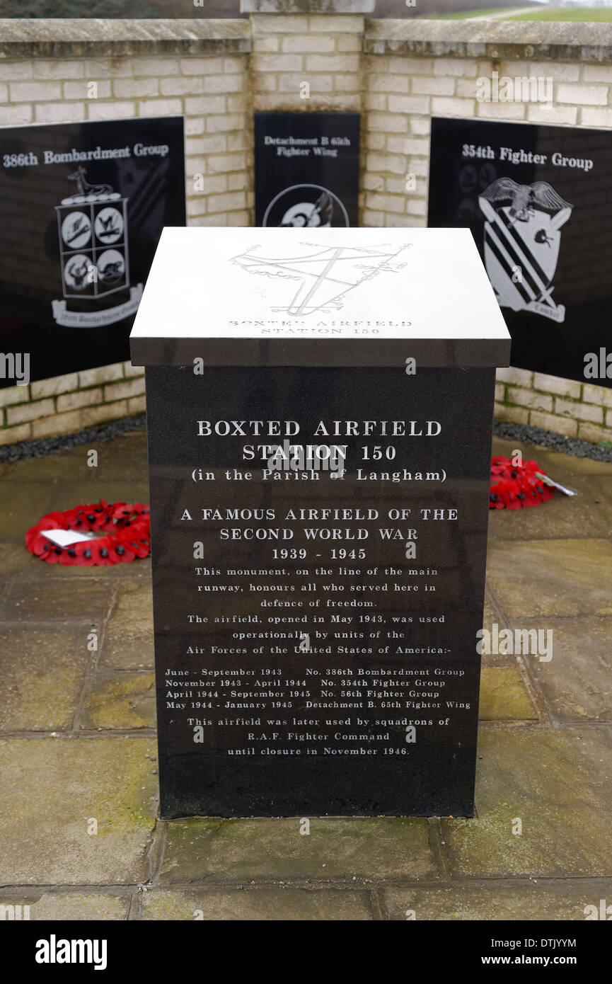 The memorial to commemorate the World War 2 airfield at Boxted,Essex,UK - Stock Image