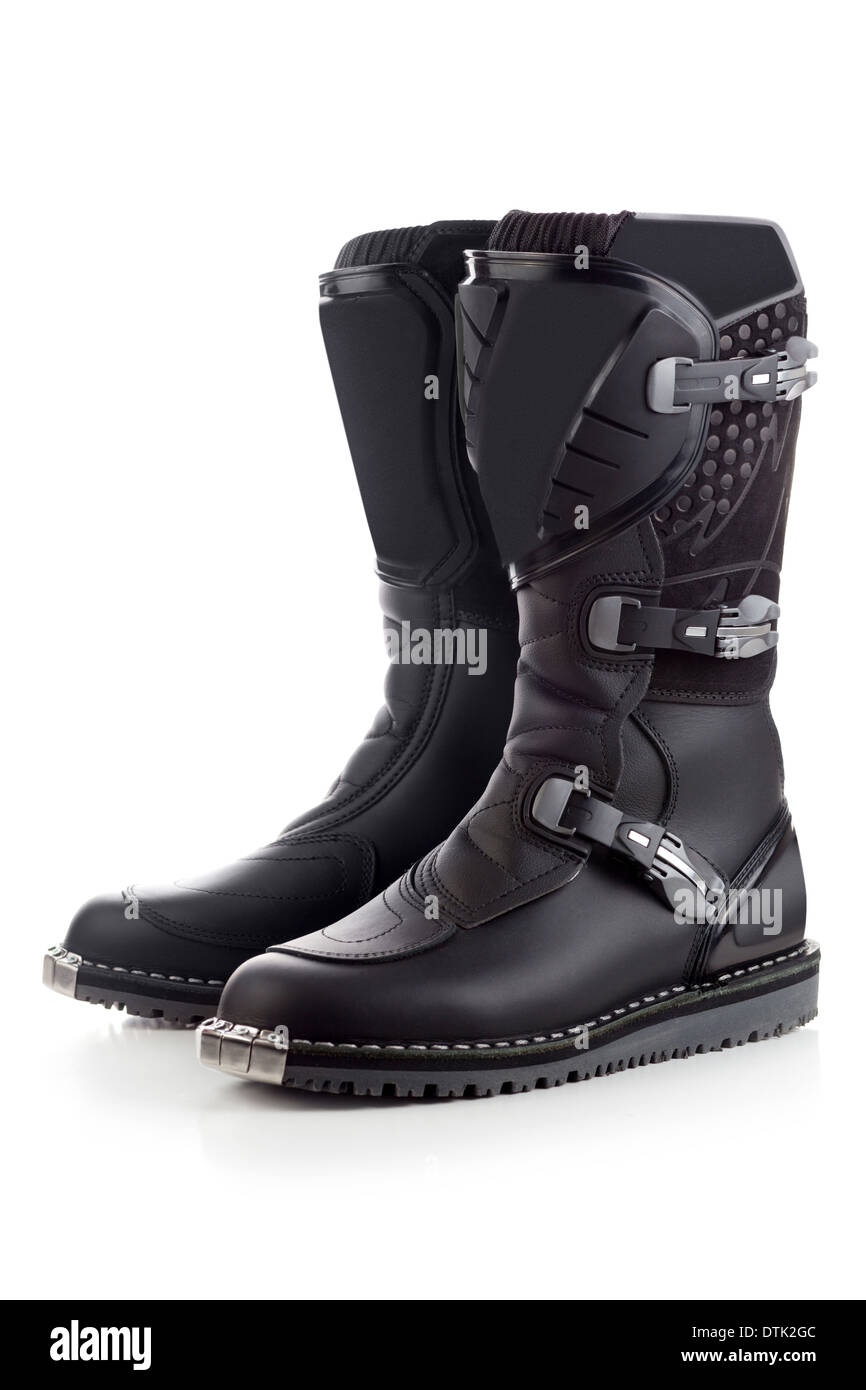 Biker boots for motocross isolated - Stock Image