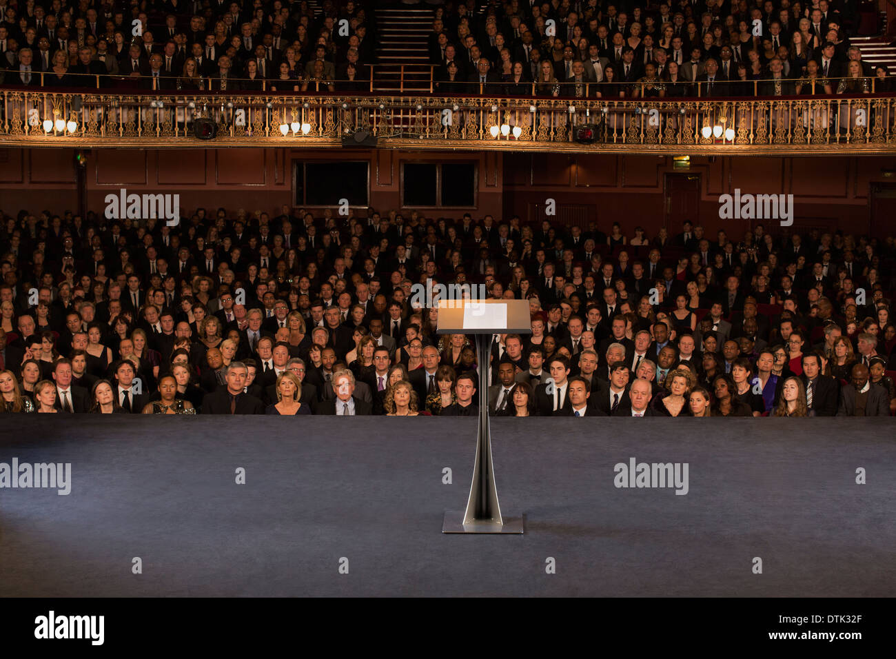 Empty podium on stage in theater - Stock Image