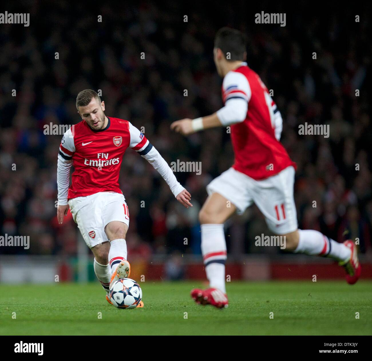 London, UK. 19th Feb, 2014. Jack Wilshere of Arsenal during the Champions League game between Arsenal and Bayern Munich from the Emirates Stadium. Credit:  Action Plus Sports/Alamy Live News - Stock Image