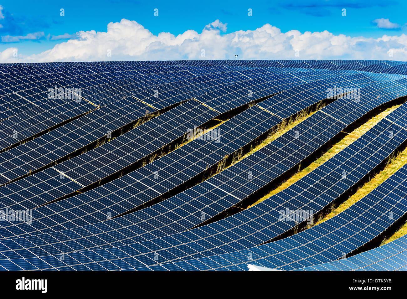 Europe, France, Alpes de Haute Provence region Puimichel, the Mees Solar Farm, solar panels. - Stock Image