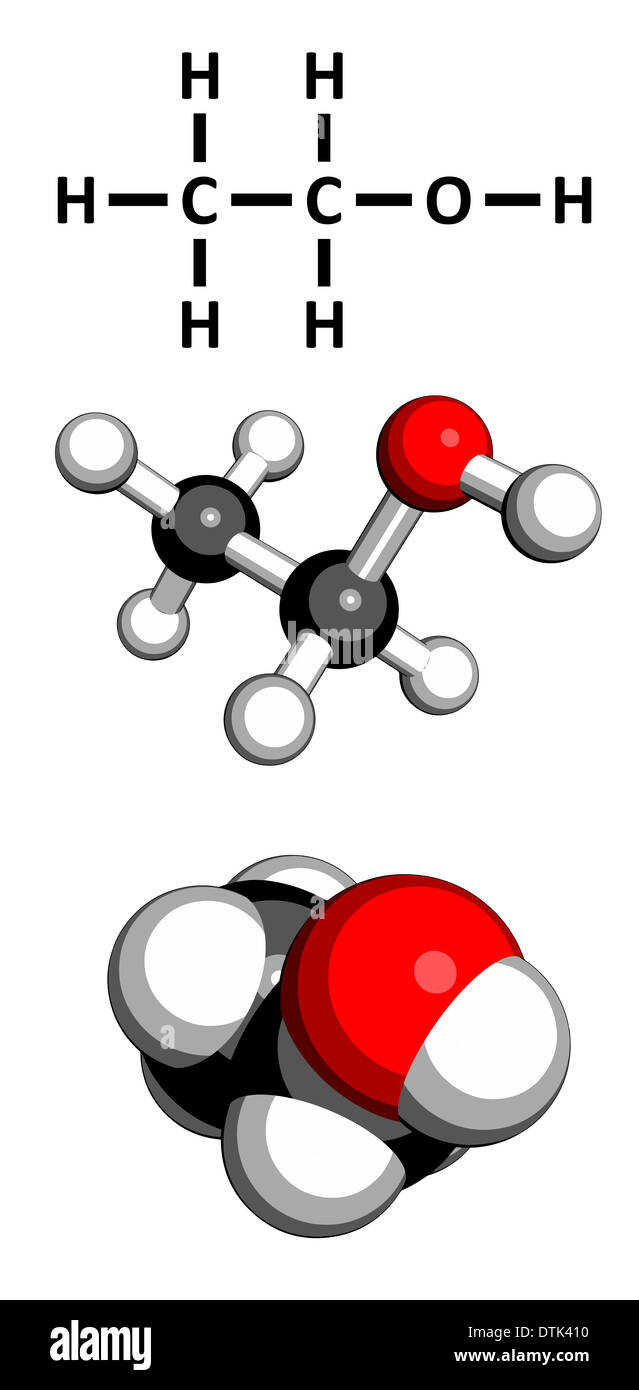 Ethanol (alcohol) molecule. - Stock Image