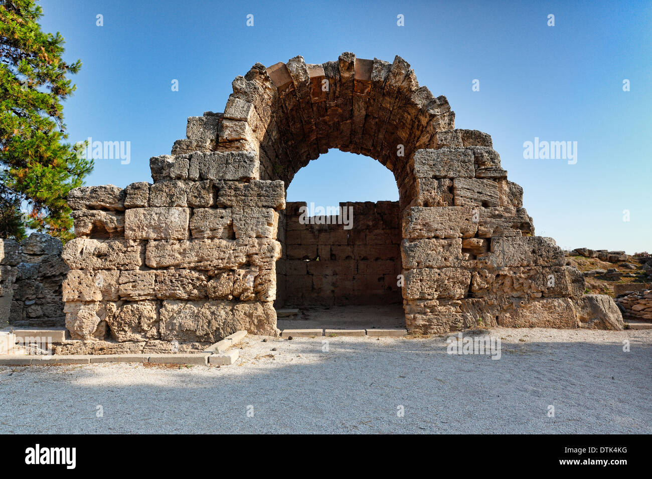 Northwest Shops in Ancient Corinth, Greece - Stock Image